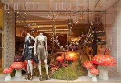 Nature takes over at Mulberry with this enchanting window display with larger than life mushrooms