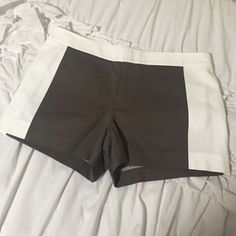 Club Monaco Colorblock Shorts Like new! Beautiful olive and white shorts. Size tag has been removed Club Monaco Shorts