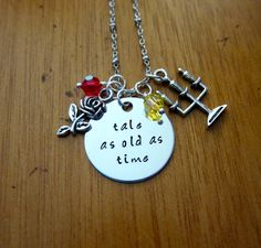 Beauty and the Beast Inspired Necklace. Belle. Tale As Old As Time. Silver colored  Swarovski Elements crystal for women or girls by WithLoveFromOC (item: 20158171312)