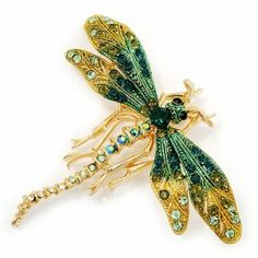 Green/ Olive Swarovski Crystal Dragonfly Brooch/ Pendant (Gold Plated Metal) $116