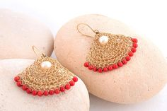 Large Dangle Coral Earrings, Fan Earrings,Red Coral Statement Earrings, Gold Dangle Earrings, Red Jewelry, 14K Gold Filled, Coral and Pearls