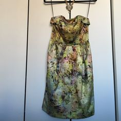 Strapless watercolor dress Perfect used condition - worn to one wedding. Stunning dress - got so many compliments. Anthropologie Dresses Strapless