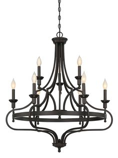 Nine Light Chandelier This Savoy House Sheilds 9-light chandelier offsets a streamlined hoop style with shapely arms that embrace the whole fixture for a different spin on the typical chandelier look. Finished in English bronze.