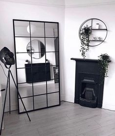 Brooklyn - Black Industrial Full Length Window Mirror x x Wood Mirror, Diy Mirror, Window Mirror, Ikea Mirror Hack, Industrial Mirrors, Faux Window, Room Inspiration, Living Room Decor, Diy Home Decor