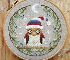 Winter Owl Crewel embroidery #crewel #crewelwork #stitching #embroidery