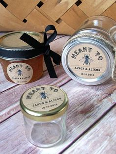 Meant to Bee KRAFT paper Canning jar labels, customized round stickers for mason jars, wedding and bridal shower favors, honey bee, CanningCrafts, Etsy $6