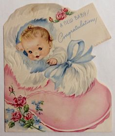 New Baby Big Fluffy Pink Bootie Embossed 50's Vintage New Baby Greeting Card