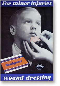 Hansaplast elastische wondpleister - reclame 1952 - Beiersdorf AG, Hamburg - sinds 1922