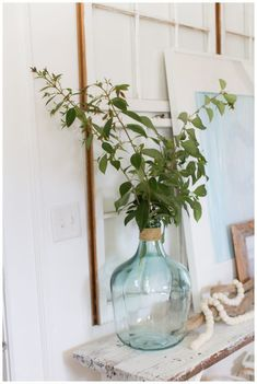 Mantle Ideas, Vignettes, Cravings, Amber, Glass Vase, Coastal, Spring, Simple, Creative