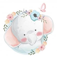 Cute Cartoon Elephant And Balloons Illustration Baby Animal Drawings, Cute Drawings, Baby Animals, Cute Animals, Cute Baby Elephant, Baby Elephant Drawing, Baby Posters, Baby Art, Watercolor Animals