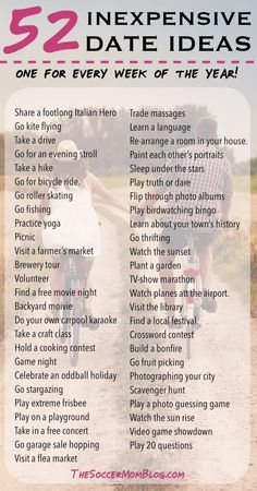 52 Free or Cheap Date Ideas - A whole YEAR of weekly date night ideas! Build your marriage without breaking the bank -- You'll never run out of things to do with this list of creative and inexpensive date ideas!