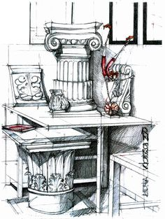 Sketches of still life and capital elements made within Architecture Classes. Historical Architecture, Architecture Design, Environment Sketch, Architecture Drawing Sketchbooks, Interesting Drawings, Interior Design Sketches, Favorite Cartoon Character, Architectural Elements, History