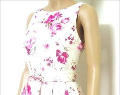 Pink Floral 100% cotton day dress Limited Edition by elegance50s