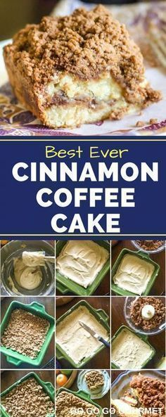 This cinnamon coffee cake recipe is moist, buttery, and full of cinnamon flavor…. This cinnamon coffee cake recipe is moist, buttery, and full of cinnamon flavor. This is the best recipe for cinnamon crumb cake out there! Easy Cake Recipes, Easy Desserts, Baking Recipes, Delicious Desserts, Dessert Recipes, Yummy Food, Easy Crumb Cake Recipe, Best Coffee Cake Recipe, Sour Cream Crumb Cake Recipe