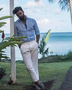 "Mr. Charlie by Carlos Soto on Instagram: ""Adaptándonos al verano! • 👔 @LucaFaloni 🕺🏻 @ThisIsTimothy 📸 @Lauren___Benson • • • • • #StayAtHome #Spring #Clothes #Elegant #Gentleman…"" Portofino Shirt, Mother Of Pearl Buttons, Just Kidding, Trousers, Pants, Gentleman, Perfect Fit, Mens Fashion, Elegant"