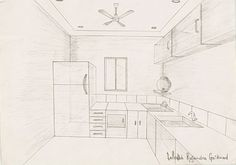 drawing one-point perspective, interior (you can faintly see the horizon line and vanishing point in the center)