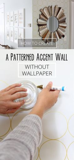 Super easy trick to decorating an accent wall without using wallpaper! All you need is 2 hours, a round glass bowl and a sharpie paint pen. DIY instructions here: www.ehow.com/how_12340482_create-patterned-accent-wall-without-wallpaper.html?utm_source=pinterest.com&utm_medium=referral&utm_content=inline&utm_campaign=fanpage