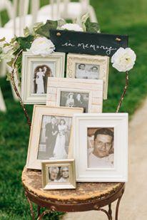 Memory photographs at the wedding ceremony at Bay Pointe Inn on Gun Lake