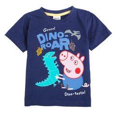 New George Peppa Pig & Dinosaur Embroidered 1Y-6Y Kids Boys T shirt Short Sleeve #Everyday