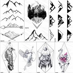 Geometric Mountain Tattoo, Brides With Tattoos, Tattoos For Guys, Fake Tattoos, Body Art Tattoos, Wolf Tattoos, Tattoo Brazo Mujer, Tatoo 3d, Forest Tattoos