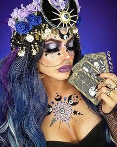 Halloween Tutorial, Halloween Inspo, Scary Halloween Costumes, Halloween Makeup Looks, Halloween 2020, Halloween Outfits, Halloween Make Up, Fortune Teller Makeup, The Fortune Teller