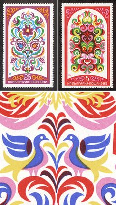 Stamps by Stefan Kanchev, inspired by Bulgarian folklore and traditions.