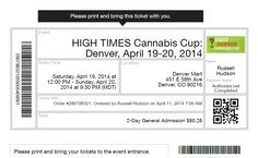 Just got my tickets to the High Times Cannabis Cup!  In Denver.  On 4/20.  Holy shit, who else is going?  Hit me up!