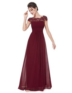 Ever Pretty Womens Lace Neckline Open Back Ruched Long Evening Gown 4 US Burgundy