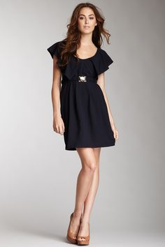 Costa Blanca Ruffle Sleeve Dress With Self Elastic Belt $12