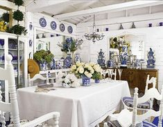 Love the contrast of blue and white with the oak buffet... Chinoiserie Dining Room in Berkeley