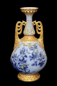 Antique French Painted Porcelain Vase, Marked MR, manufactured by La Porcelaine Limousine, S.A -  c 1926