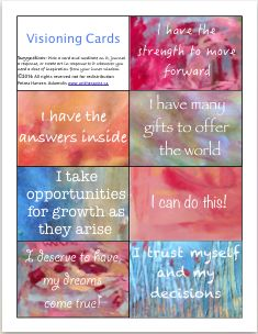 Free affirmation cards plus blank ones to write your own. Clients can make their own by painting different colours onto card stock as background and then cutting into smaller cards