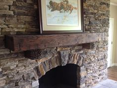 Another beautiful hand hewn beam fireplace mantel supplied by Barnwood Bricks® and installed by Chad Roberts of Nashville, TN.