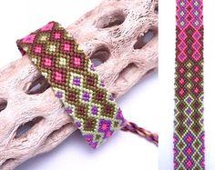 Pulsera de la amistad - patrón del doble diamante - hilo bordado - anudada algodón hilo - hecho a mano - de - cadena - tejido - macrame - - amplia