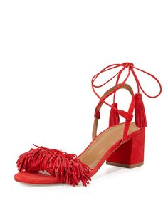X2XP8 Aquazzura Wild Thing Fringe City Sandal, Lipstick