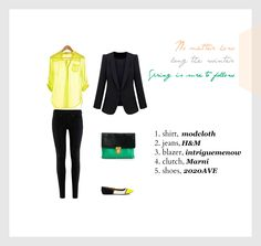 #set #outfit #clothes #style #stylish #chic #yellow #green #spring #summer