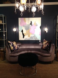A must see at #HPMKT is @Stacy Stone Homewares Home by Ashley Childers. The sultry Lauren Sofa in crush plum velvet epitomizes glamour at it's finest. IHFC IH201 #HPMKT