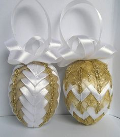 Ribbon Easter Egg Quilted Easter Ornament set of 2 eggs by Gofen, $26.00