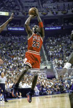 Chicago Bulls Michael Jordan in action, taking shot vs Utah Jazz at. Jordan 23, Michael Jordan Photos, Michael Jordan Basketball, Chicago Bulls, Utah Jazz, Nba, Bulls Wallpaper, High Jump, Sports News