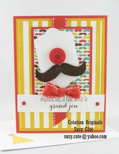 Remembering your Birthday & Many Mustaches stamp set.   Just in time for Movember challenge...