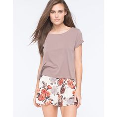 Full Tilt Essential Womens Easy Tee ($13) ❤ liked on Polyvore featuring tops, t-shirts, taupe, full tilt tops, short sleeve t shirts, scoop neck top, full tilt and scoopneck tee