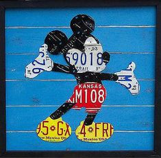 License plates  Mickey Mouse what better way to get reuse of the scrap metal