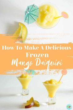 Frozen Mango Daiquiri Recipe an easy frozen rum cocktail with blended fruit, crushed ice and rum. #cocktails #frozencocktails #MangoDaiquiri #Daiquiri Frozen Cocktails, Winter Cocktails, Easy Cocktails, Mango Daiquiri, Frozen Daiquiri, Cocktails To Make At Home, Mango Cocktail, How To Make Smoothies, Best Cocktail Recipes