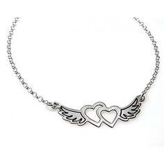 Gargantilla de plata de primera ley con dos corazones con alas y cadena rolo