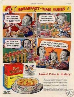 Post Toasties Corn Flakes Cereal (1938)