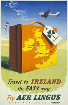 Travel to Ireland the Easy Way. Vintage Irish travel poster.