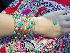 Turquoise, coral and pearl bangles. Turquoise Ring bracelet shopdesignspark. Design spark.