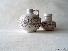 Strehla vases with lava decor, winter white with stone colored detail, Vintage East German, Mid Century modern. by Cherryforest on Etsy