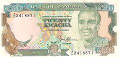 Front: Dr. K. Kaunda in 20 kwacha note