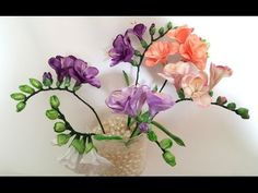 Ribbon flowers: freesia of satin ribbons/tutorial/Цветы из лент: Фрезия. МК - YouTube